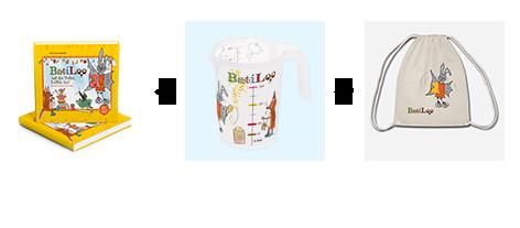 BatiLoo Buch, Becher und Gym Bag